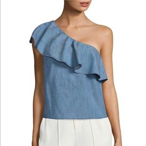 SALE Alice + Olivia Calla Ruffled One-shoulder Top